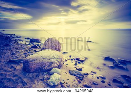 Vintage Photo Of Baltic Sea Shore Seascape