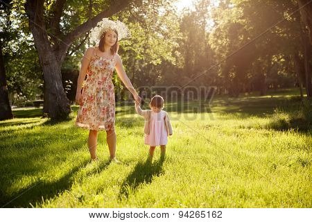 Mother and daughter in the park