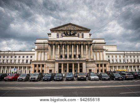 WARSAW, POLAND -JUNE  20: The Grand Theatre - National Opera architectural details in Warsaw, Poland, Neo-Classical style in Warsaw Poland on June 20, 2015