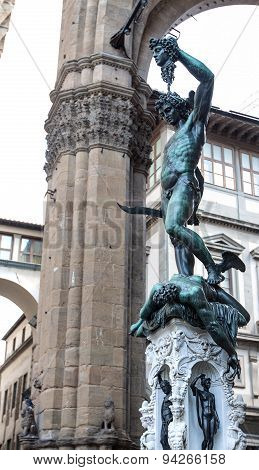 Statue Of Perseus With Head In Hand. Florence. Italy.