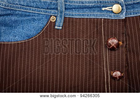 Jeans And Lined Brown Fabric Textures