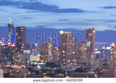 City light blur bokeh defocused background during twilight