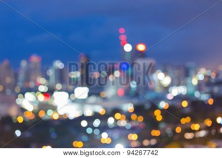 Twilight of blur city light abstract bokeh background