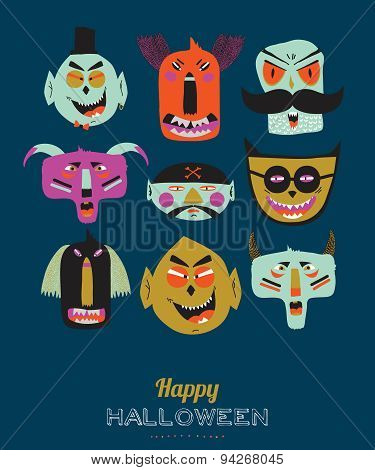 Bright Halloween trick or treat card