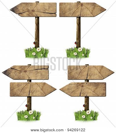 Set Of Directional Wooden Signs With Pole