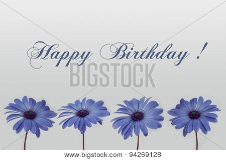 happy birthday text and flower decoration -