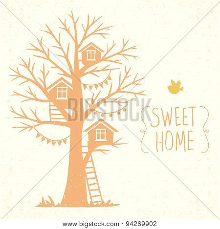 tree and houses