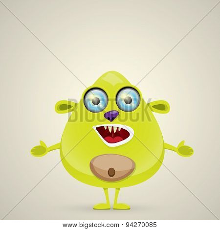 Green Cartoon cute monster