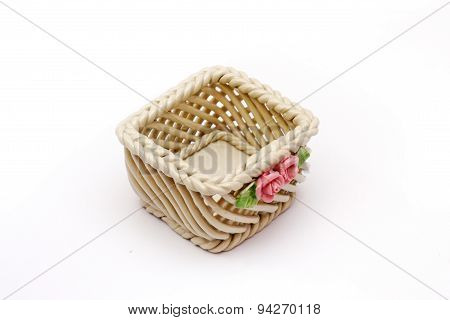 Ceramic basket with pink rose