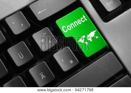 Keyboard Green Enter Button Connect World Map