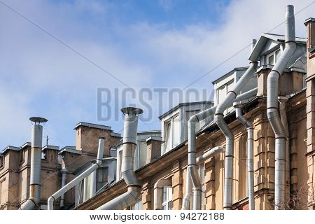 Living House Roof With Ventilation Pipes