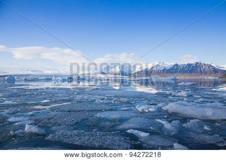 Beautiful Jokulsarlon glacier late winter Iceland