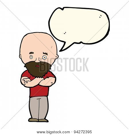 cartoon shocked bald man with beard with speech bubble