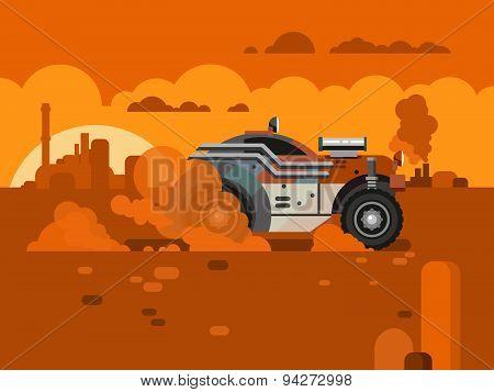 Driving Fast Retro Car Through Desert