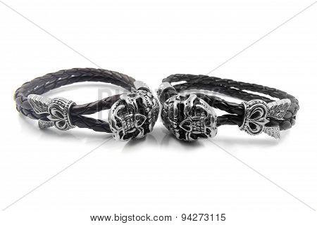 Leather bracelet with the devil skull