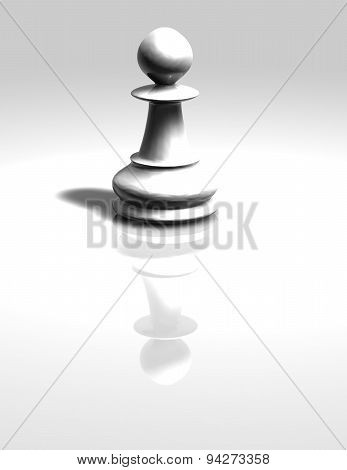 White Chess Pawn Figurine Isolated Illustration