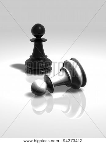 Pawns White Black Figurines Illustration Isolated