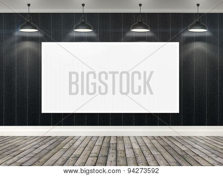 3D Blank Poster In Room With Ceiling Lamps