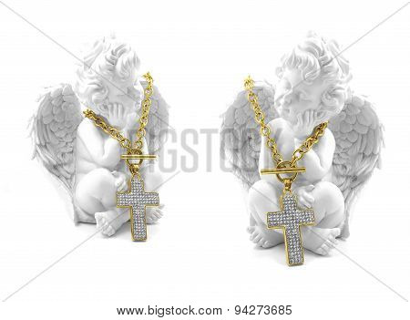 Angel and gold cross necklace stainless steel