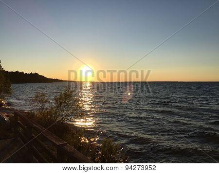Sun on Lake Michigan in summer