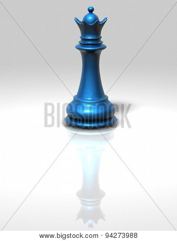 Blue Chess Queen Isolated