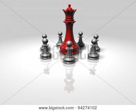 Chess Game Concept Illustration With White Pawns