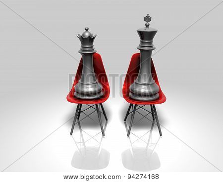 White Chess King And Queen Sitting Concept Illustration