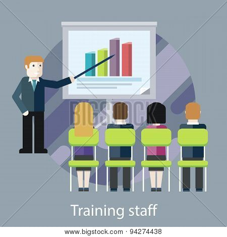 Training staff. People in the Hall and a Lecturer
