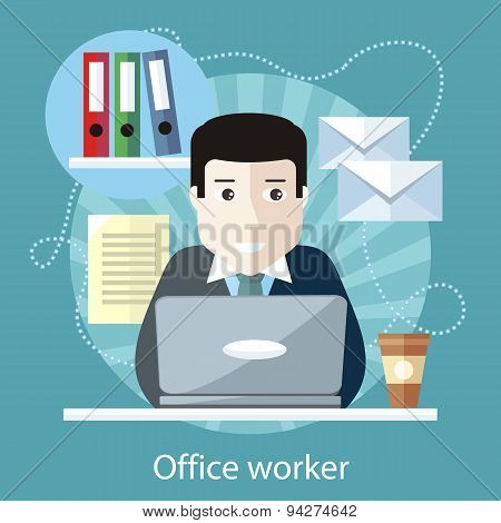 Office Worker Sitting in front of Computer