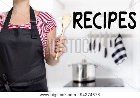 Recipes Cook Holding Wooden Spoon Background