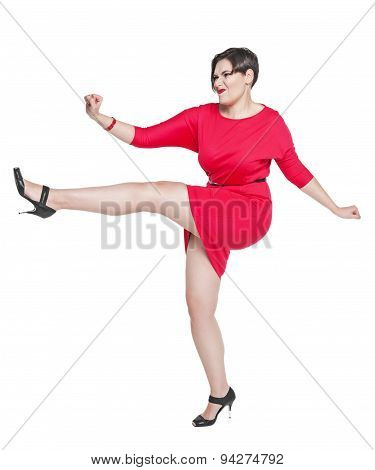Beautiful Plus Size Woman Fighting Off Something Isolated