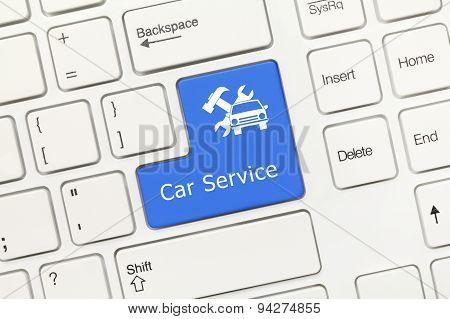 White Conceptual Keyboard - Car Service (blue Key)