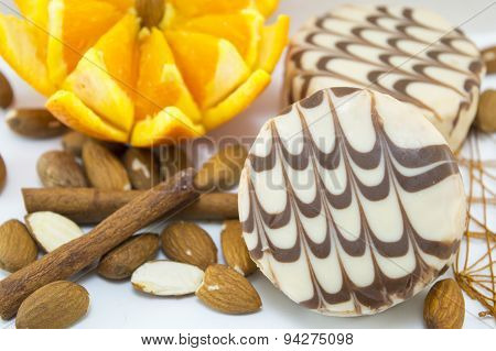Black And White Chocolate Cookies Decorated With Fresh Orange