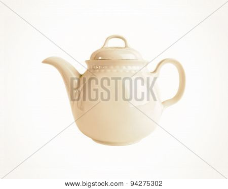 Porcelain teapot isolated in old style on white