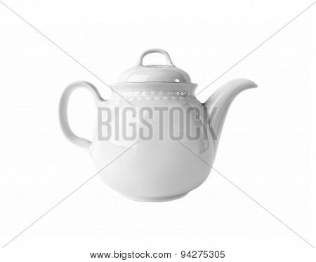 White porcelain Teapot isolated on white background