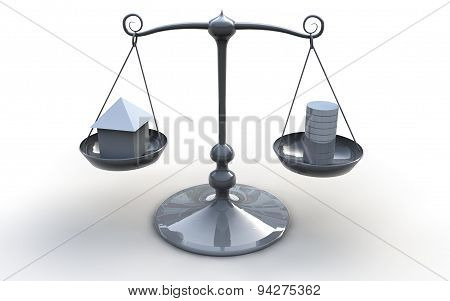 Scales With Money And House Real Estate Concept Illustration