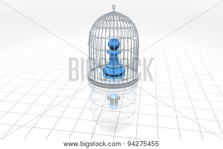 Slave Concept With Chess Pawn And Cage Illustration