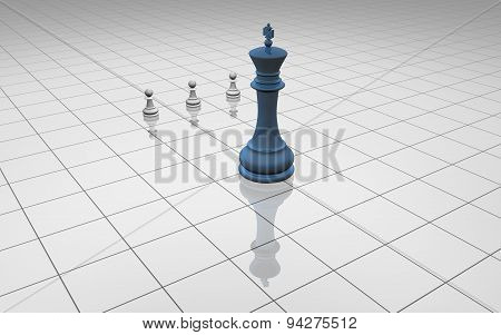 Chess Lighy Illustration With Pawns And Blue Chess King