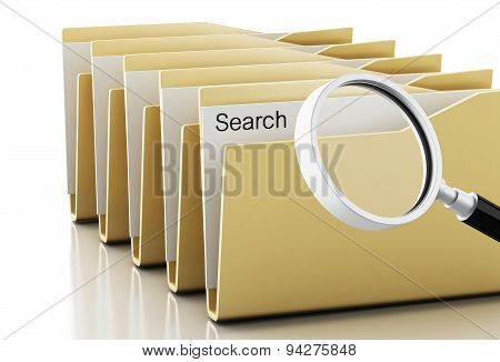 3D Magnifying Glass Examines Yellow Folders