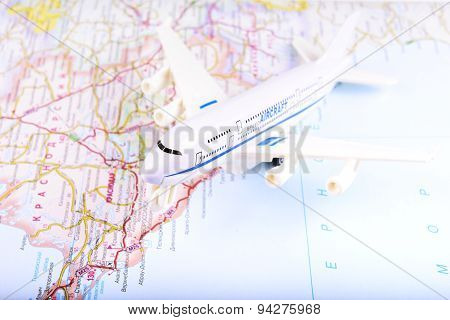 Travel concept with money documents and map