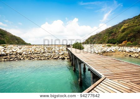 Wooden Walkway At Beach