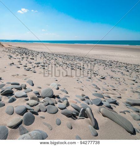 Aberdovey Aberdyfi beach vast sand and empty space holiday destination Wales