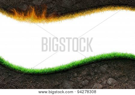 Soil And Grass Isolated