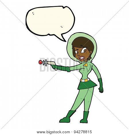 cartoon sci fi girl with speech bubble