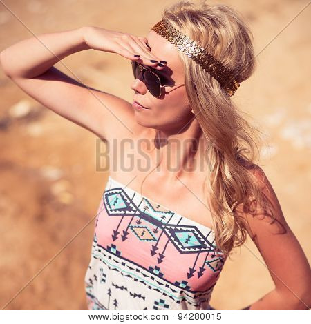 Pretty Young Hippie Caucasian Girl, Enjoys Good Weather