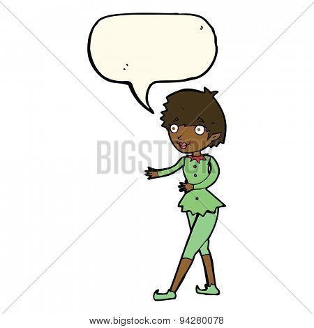 cartoon christmas elf woman with speech bubble