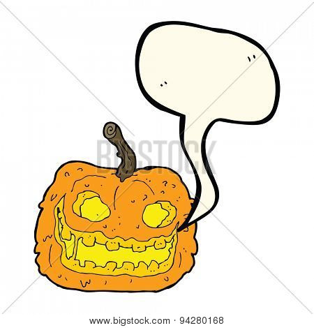 cartoon spooky pumpkin with speech bubble