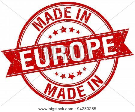 Made In Europe Red Round Vintage Stamp
