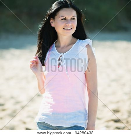 Happy Woman Smiling. Rest On A Beach