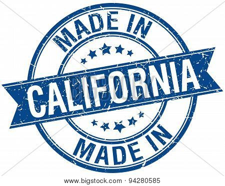 Made In California Blue Round Vintage Stamp